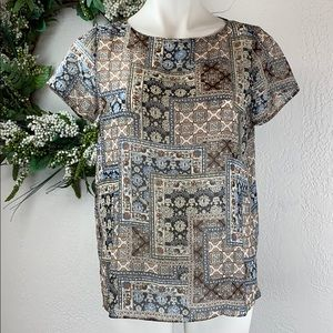 J. Jill sheer short sleeve blouse